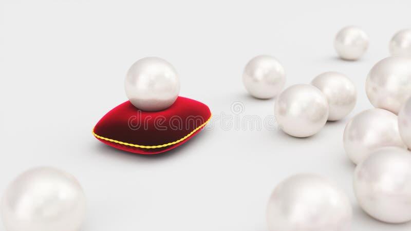 rendi??o 3d de uma p?rola em um descanso vermelho macio de veludo com um curso do ouro P?rola bonita, joia cara para mulheres ilustração do vetor