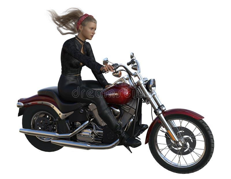 rendi??o 3d do cavaleiro da menina na motocicleta ilustração stock