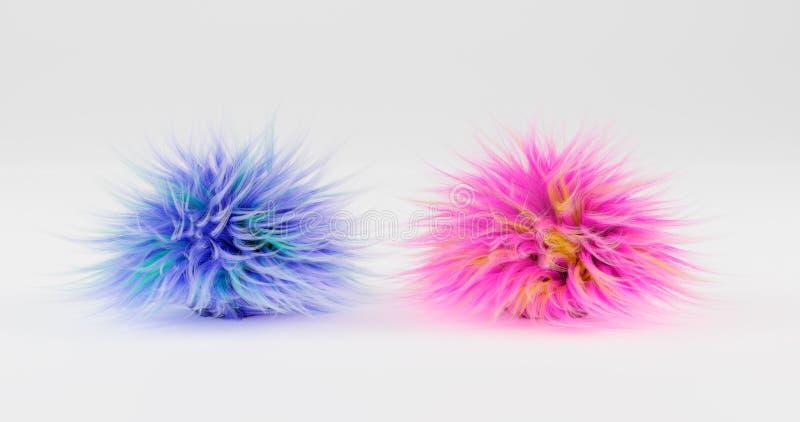 rendi??o 3d Duas bolas macias da mentira azul e cor-de-rosa da cor em um plano, isoladas por um fundo branco Ilustra??o gr?fica ilustração do vetor