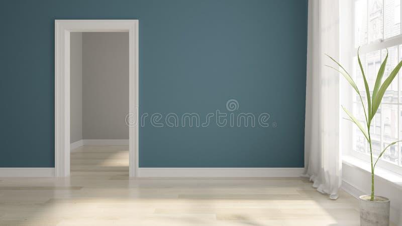 Rendi??o vazia interior da sala 3D imagem de stock