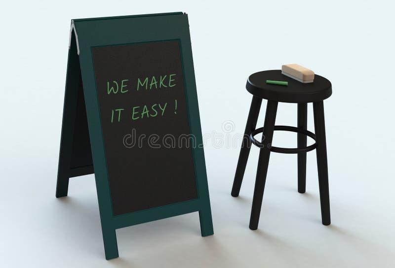 RENDIAMO L'IT FACILE, messaggio sulla lavagna illustrazione di stock