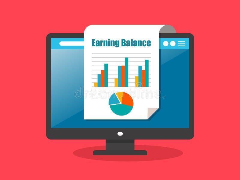 Rendiconti finanziari visualizzati nei documenti cartacei da uno schermo di desktop computer immagine stock libera da diritti