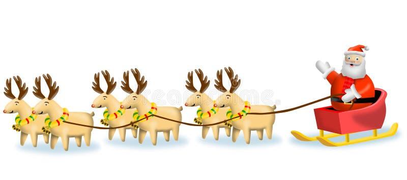 Rendier dat de ar van de Kerstman trekt royalty-vrije illustratie