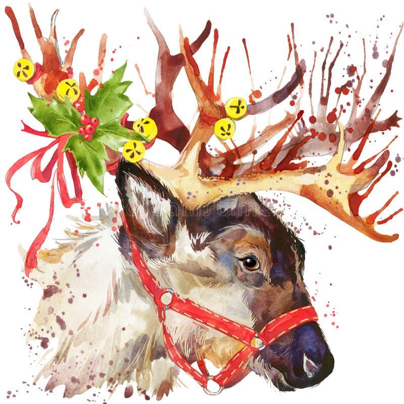Rendier de Kerstman De illustratie van de rendierkerstman met de geweven achtergrond van de plonswaterverf vector illustratie