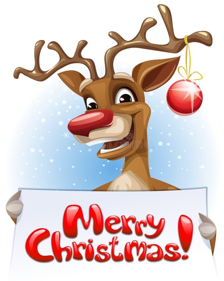 Rendier die Vrolijke Kerstmisbanner houden