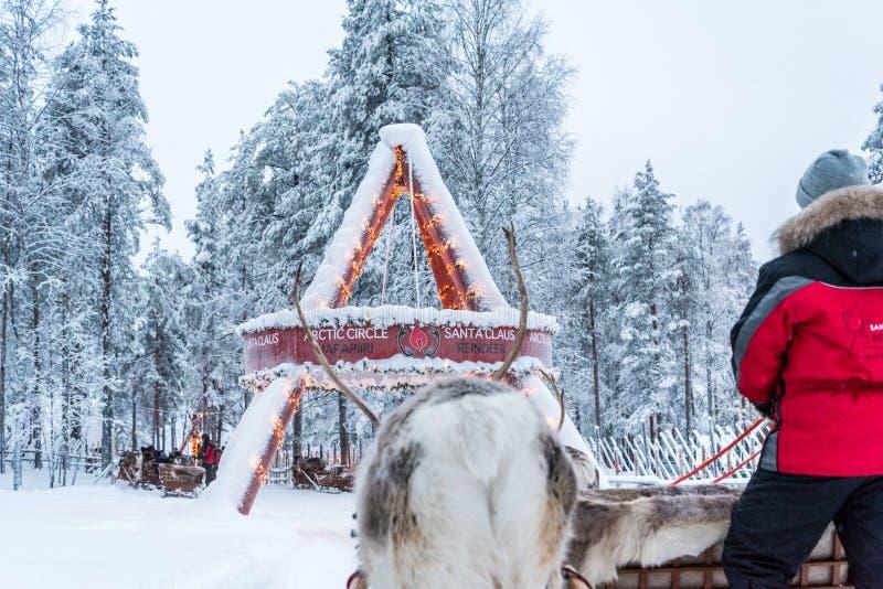 Rendier het sledging in Rovaniemi, Finland stock foto's