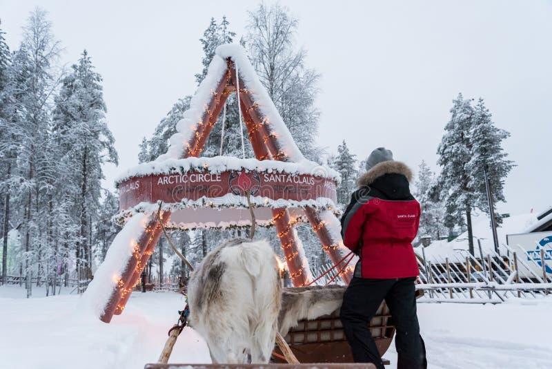Rendier het sledging in Rovaniemi, Finland royalty-vrije stock afbeeldingen