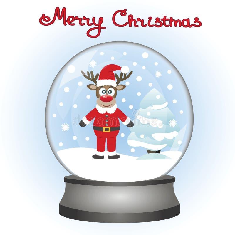 Rendier met een Kerstboom in een stuk speelgoed sneeuwbal Kerstmis dee royalty-vrije illustratie