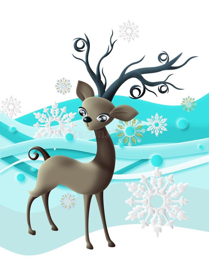 Rendier met sneeuwvlokken stock foto