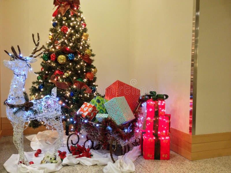 Rendier Santa Sleigh stock afbeelding