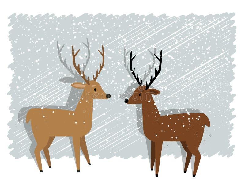 Rendier in sneeuw stock illustratie