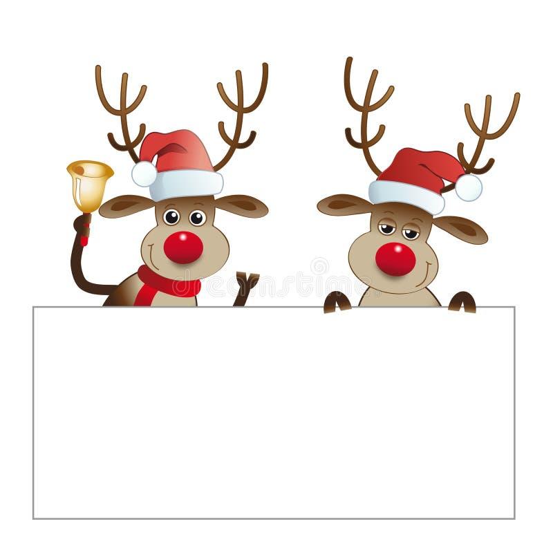 Rendieren met Santa Claus-de affiches van de hoedengreep vector illustratie