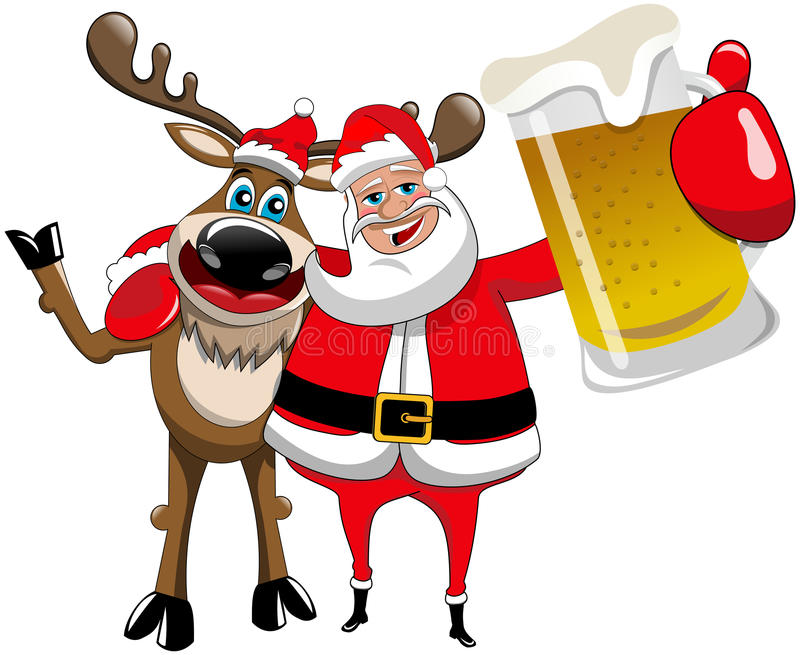Rendierkerstmis Santa Claus Hug Beer Mug stock illustratie