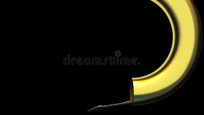 Rendimento in 3D di un forte flusso di petrolio proveniente da un tubo dorato Sfondo astratto generato dal computer illustrazione di stock