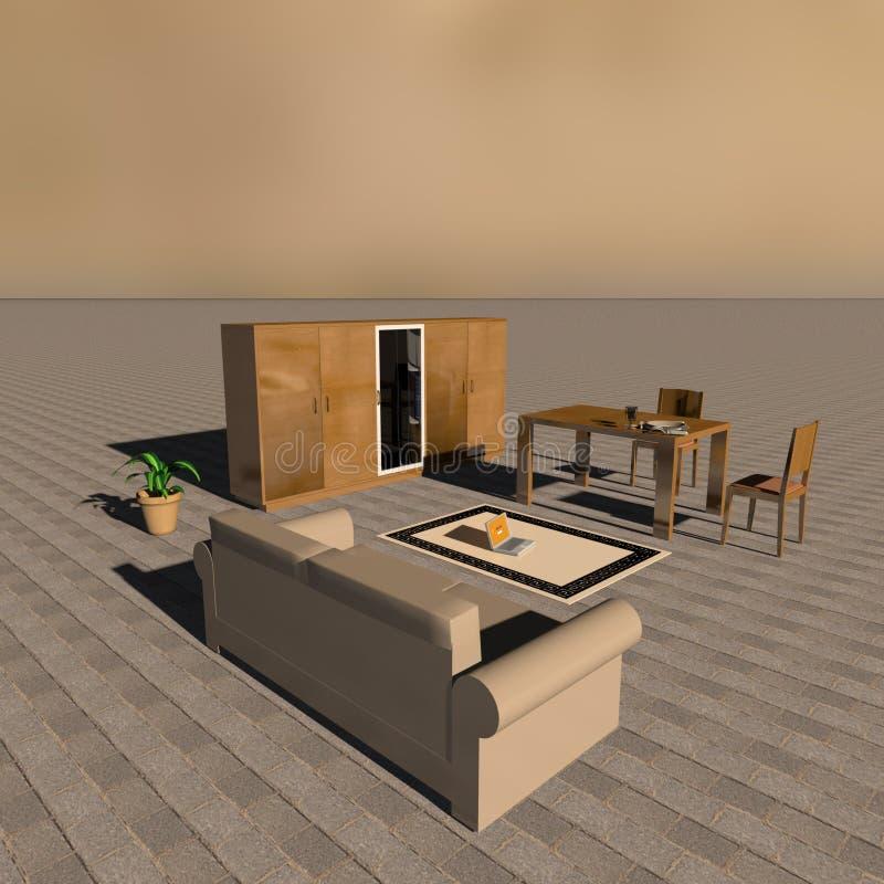 Rendu 3d d'isolement d'une salle de séjour illustration de vecteur