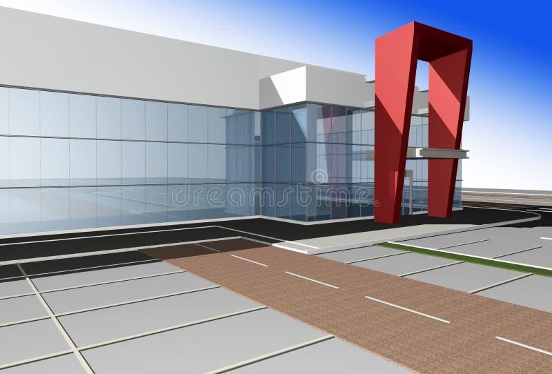 rendu 3D de centre commercial moderne illustration libre de droits