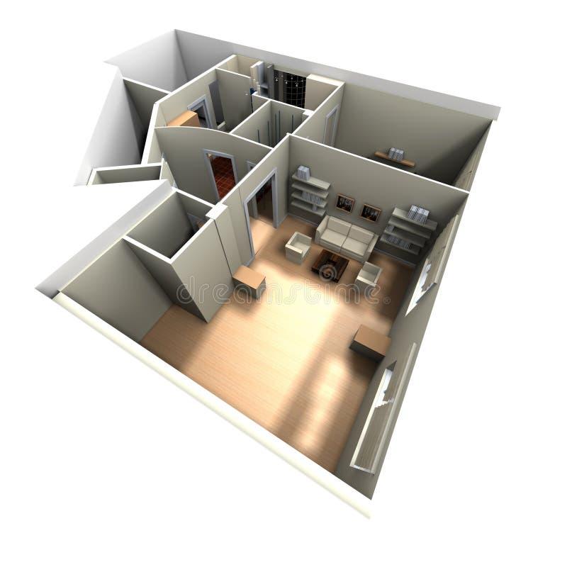 rendu 3D de l'intérieur à la maison illustration libre de droits