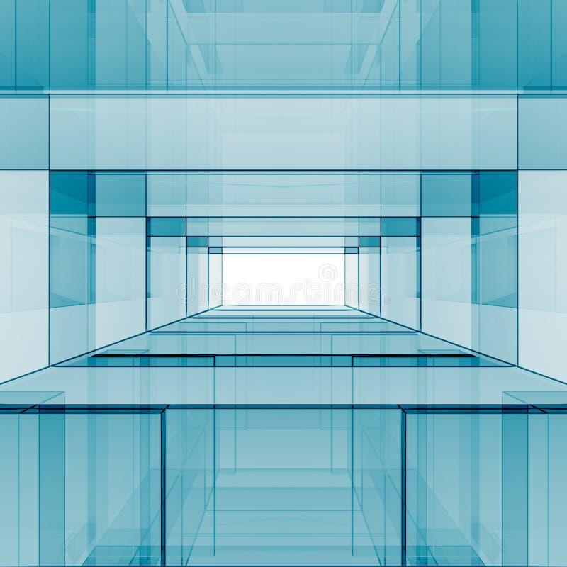 Rendu abstrait bleu de la conception 3D illustration libre de droits