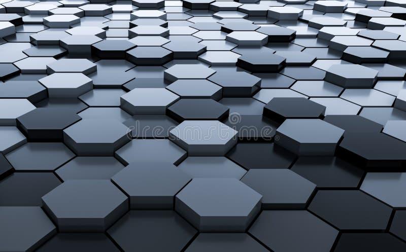 Rendu abstrait noir du modèle 3D de fond d'hexagones - illustration 3D illustration de vecteur