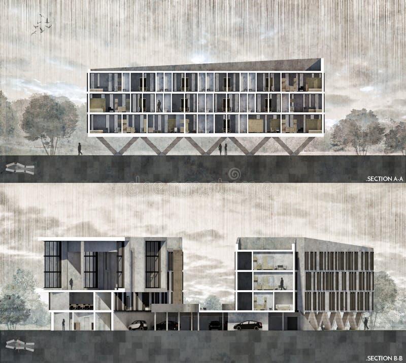 Rendu architectural de section illustration stock