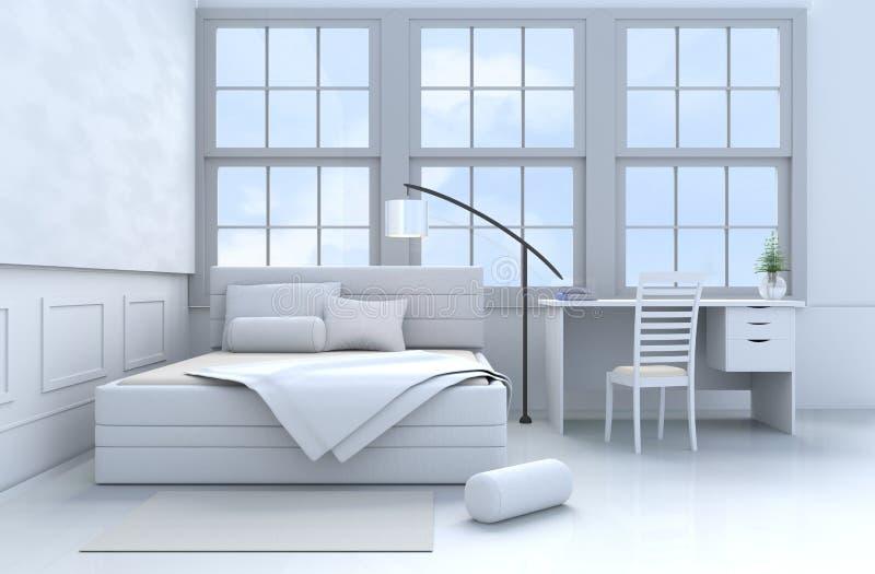 rendu Blanc-bleu de la chambre à coucher 3d photographie stock