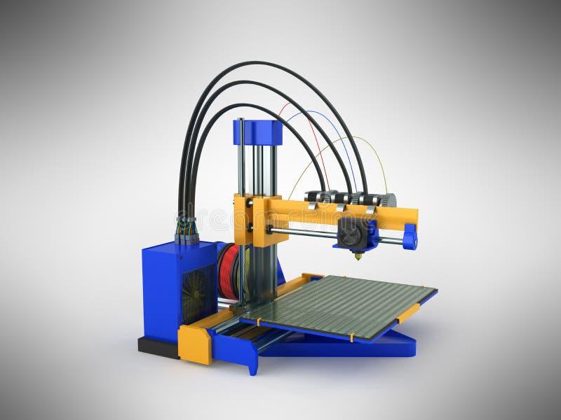 rendu bleu du jaune 3d de l'imprimante 3d sur le fond gris illustration libre de droits