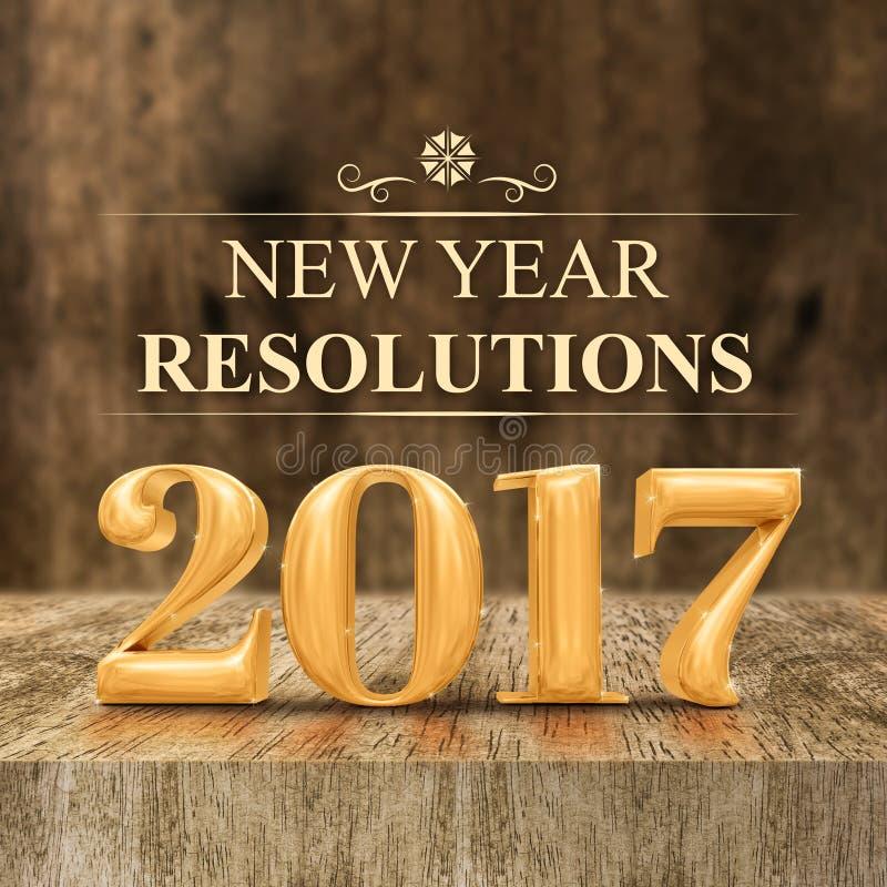Rendu brillant des résolutions 3d de nouvelle année d'or 2017 au bl en bois illustration stock