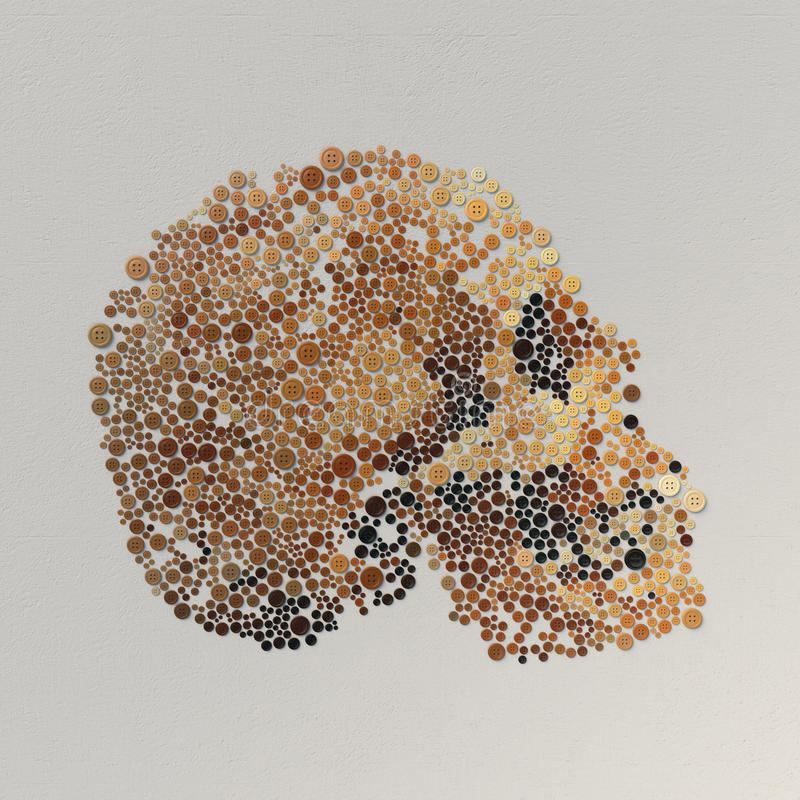 Rendu 3d abstrait de crâne avec les boutons colorés illustration de vecteur