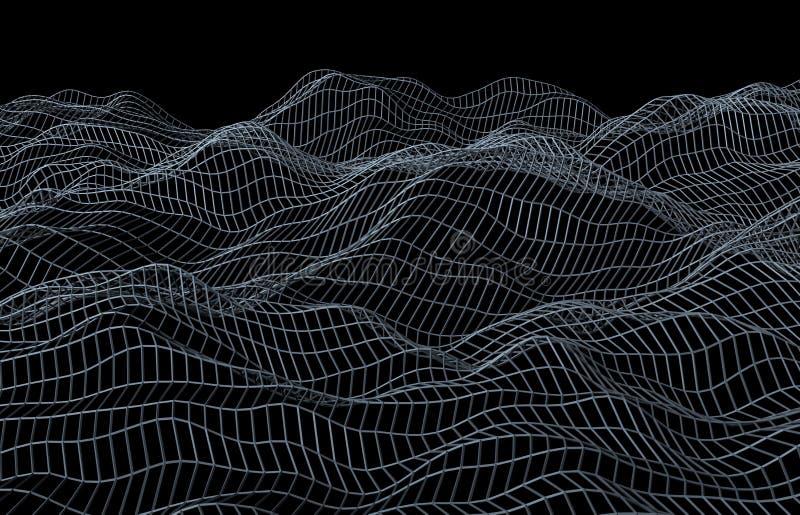 Rendu 3D abstrait de la surface avec des vagues illustration stock