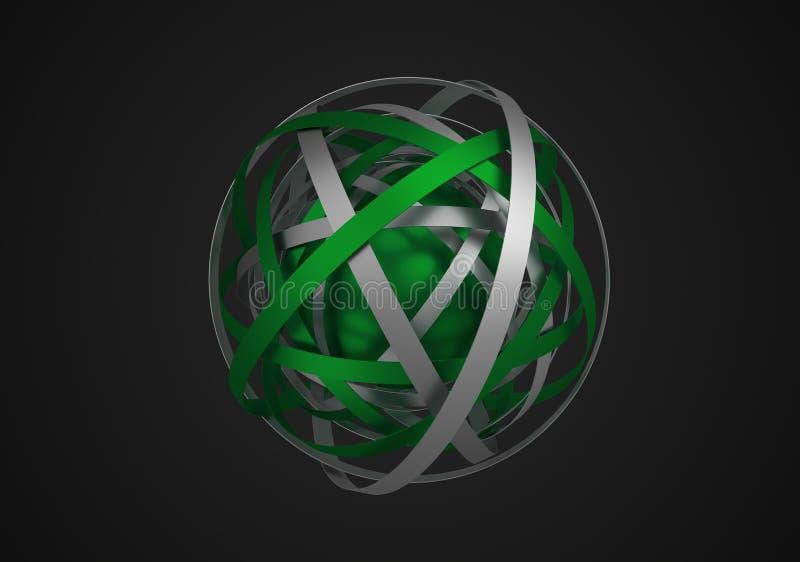 Rendu 3D abstrait de sphère avec des anneaux illustration libre de droits