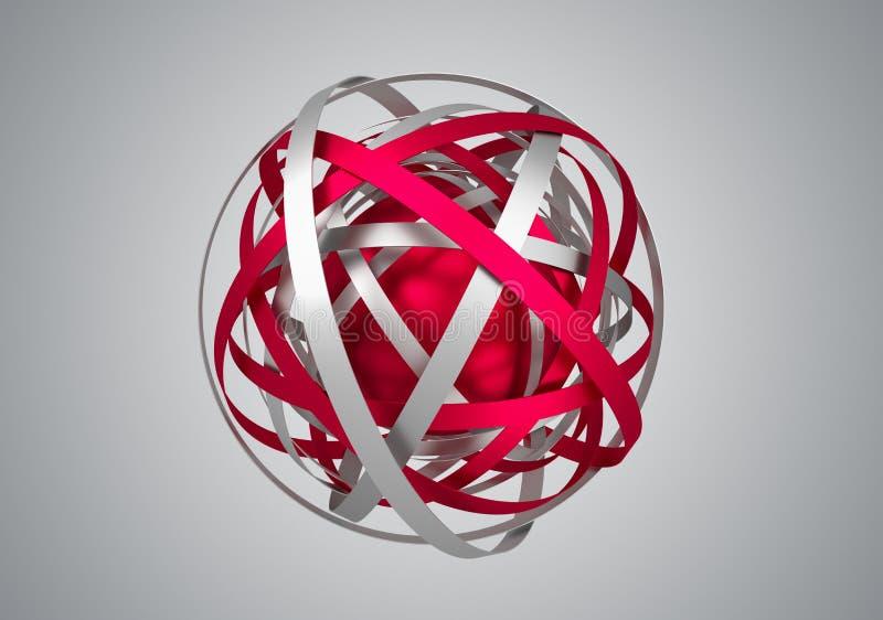 Rendu 3D abstrait de sphère avec des anneaux illustration de vecteur