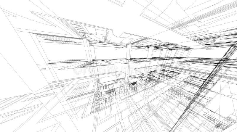 Rendu 3D abstrait de structure de wireframe de bâtiment illustration stock