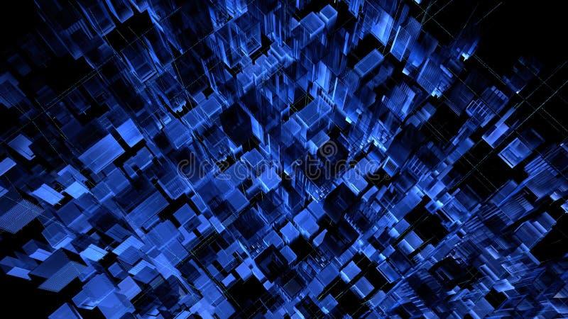 Rendu 3d abstrait des particules chaotiques Cubes en Sci fi dans l'espace vide Fond futuriste illustration stock