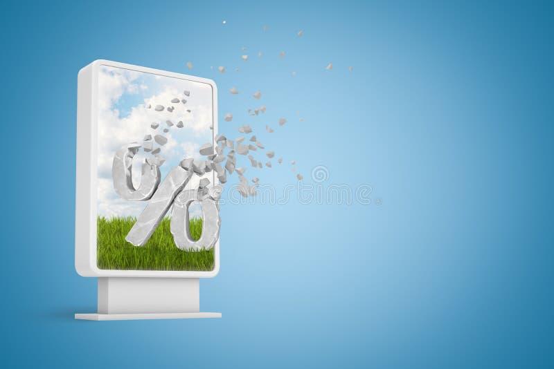 rendu 3d d'affichage de l'information avec le grand signe de pour cent en pierre commençant à se dissoudre dans les particules su illustration de vecteur