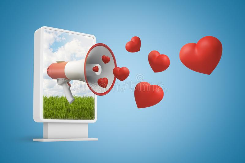 rendu 3d d'affichage d'informations numériques avec le mégaphone sur l'écran hors duquel les coeurs rouges volent au-delà illustration de vecteur