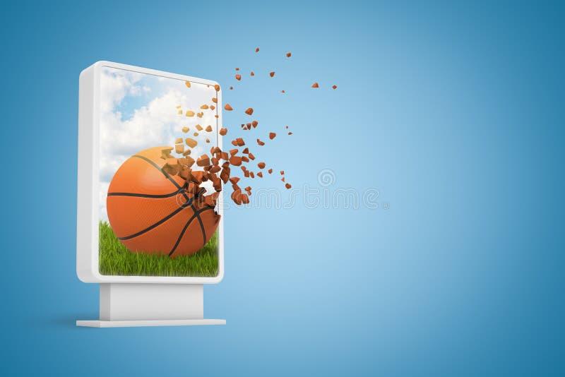 rendu 3d d'affichage d'informations numériques montrant le basket-ball commençant à se dissoudre dans les particules sur le bleu  illustration libre de droits