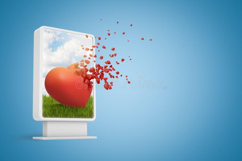 rendu 3d d'affichage d'informations numériques montrant le coeur rouge mignon commençant à se dissoudre dans les particules, sur  illustration libre de droits