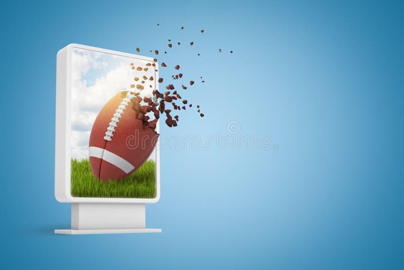rendu 3d d'affichage numérique avec la boule ovale pour le football américain commençant à se dissoudre dans les particules sur l illustration stock