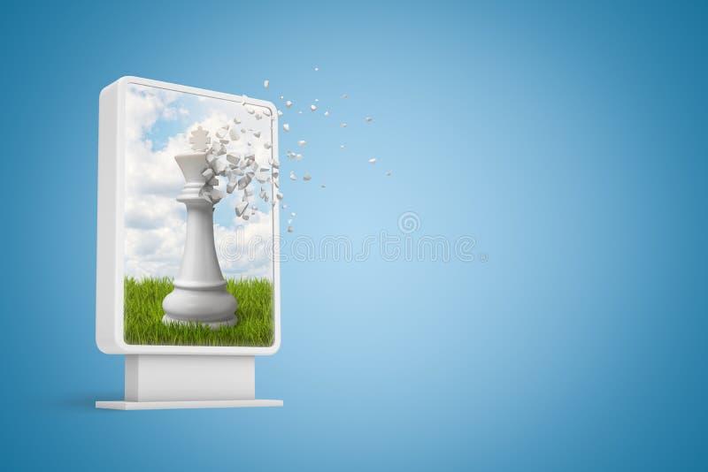 rendu 3d d'affichage numérique avec le chesspiece blanc commençant à se dissoudre dans les particules sur l'écran sur le gradient illustration libre de droits
