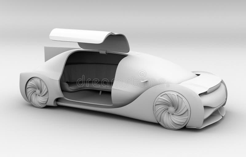 Rendu d'argile d'individu conduisant l'intérieur de voiture électrique illustration libre de droits