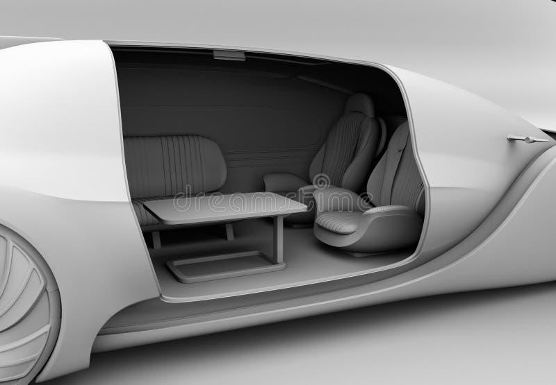 Rendu d'argile d'individu conduisant l'intérieur de voiture électrique illustration stock