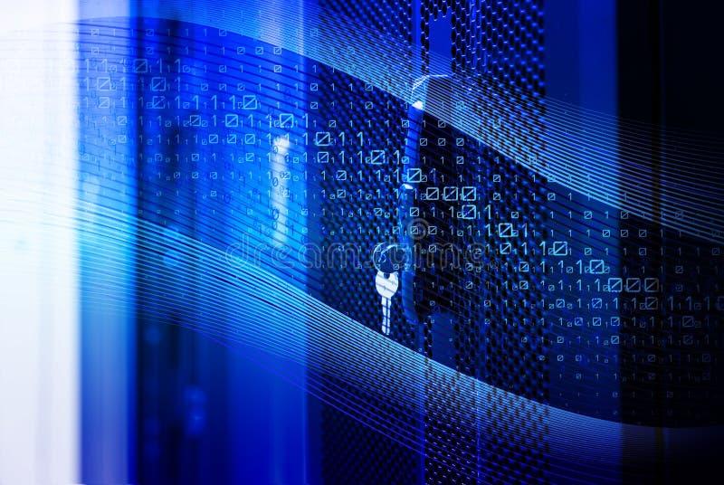 Rendu 3d binaire de ton bleu de concept de entailler et de crime de cyber image libre de droits