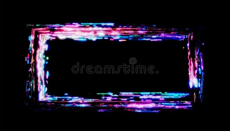 rendu 3d Cadre au néon des peintures multicolores sur un fond noir cadre lumineux de conception pour faire de la publicité illustration de vecteur