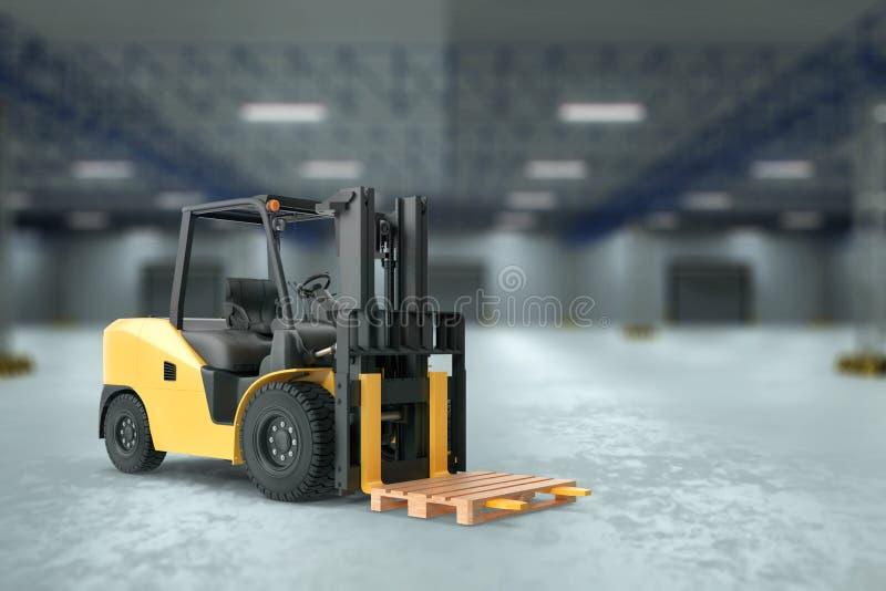 Rendu 3D, Chargeur jaune à l'arrière-plan d'un grand entrepôt Le concept de logistique, livraison, transport, emballage illustration de vecteur