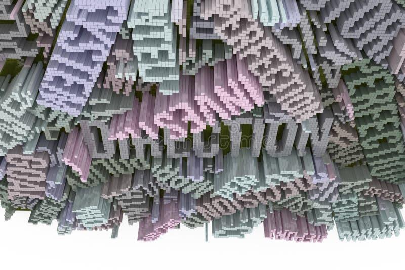 Rendu 3d coloré Composition abstraite en forme, streptocoque géométrique illustration de vecteur