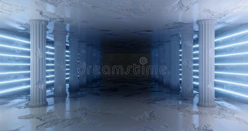 rendu 3d Couloir de marbre avec les colonnes endommagées avec les rayures au néon bleu-clair le long des murs Lueur au n?on illustration libre de droits