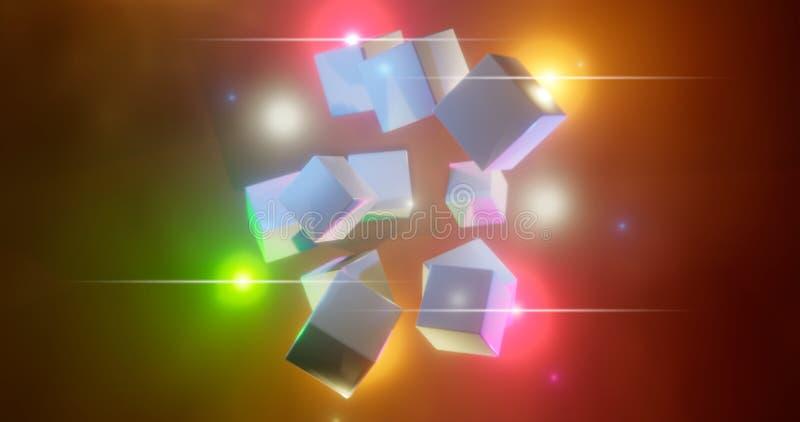 rendu 3d Cubes multicolores sur un fond lumineux Chiffres géométriques entourés par des points culminants lumineux Environnement  illustration stock
