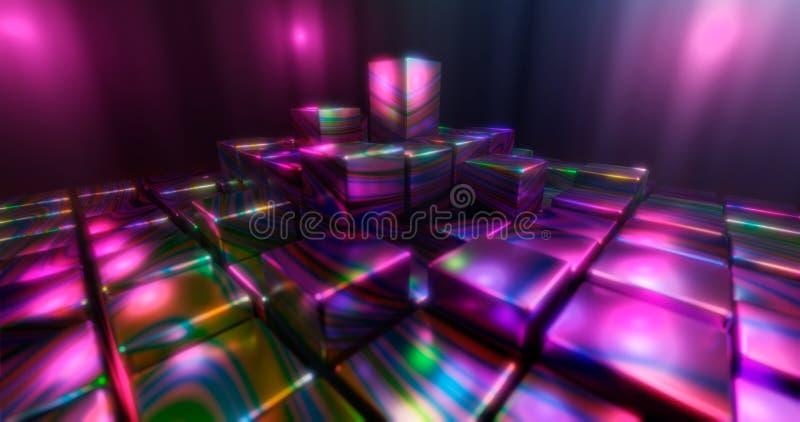 rendu 3d Cubes multicolores sur un fond lumineux Chiffres géométriques entourés par des points culminants lumineux Environnement  illustration libre de droits