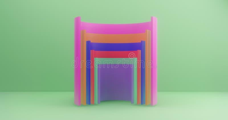 rendu 3d Cylindres coupés multicolores sur le fond de la toile verte Illustration abstraite illustration libre de droits