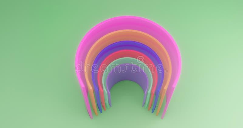 rendu 3d Cylindres coupés multicolores sur le fond de la toile verte Illustration abstraite illustration stock